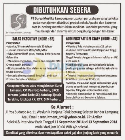 Lowongan Kerja PT Surya Mustika Lampung, 10 September 2014