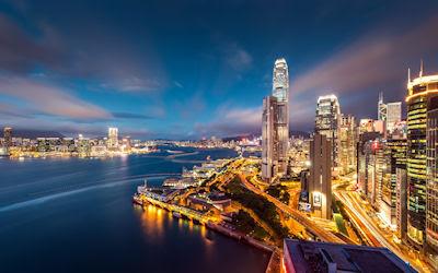Enormes rascacielos en la ciudad de Hong Kong - Skyscrapers