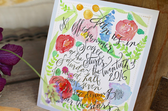 Midsummer Party - A Fragrant & Tasty Soirée Watercolored and Hand-lettered Invatation by Aimee Ferre