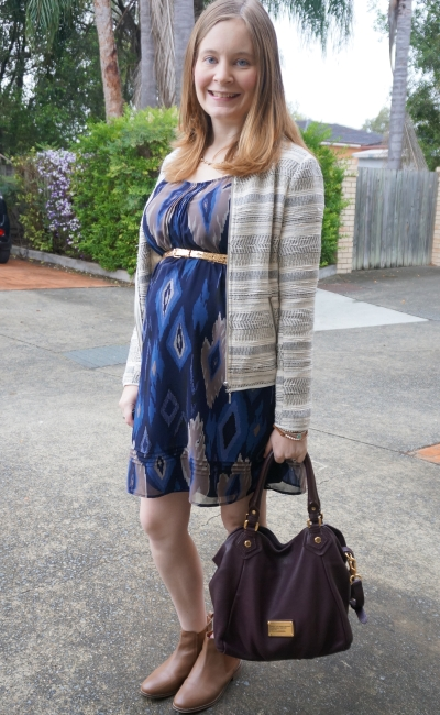 Away from Blue | Spring Second Trimester Office Wear Aztec print dress ankle boots
