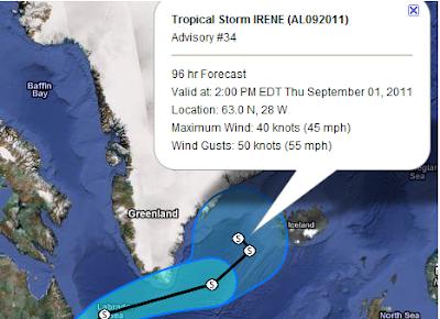 Gelangt IRENE als Sturm nach Grönland und Island?!, Rekord, Verlauf, Irene, Grönland, Island, Hurrikansaison 2011,  Hurrikansaison 2011, Vorhersage Forecast Prognose, Kanada,