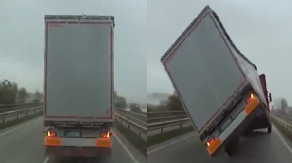فيديو .. إنقلاب شاحنة ضخمة بسبب الرياح القوية !