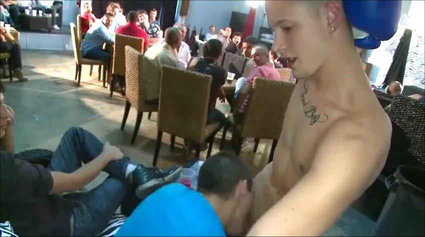 Sucking off the cute male stripper