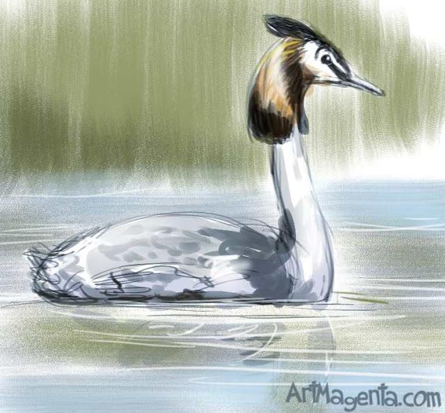 Skäggdoppingen är en fågelmålning av ArtMagenta