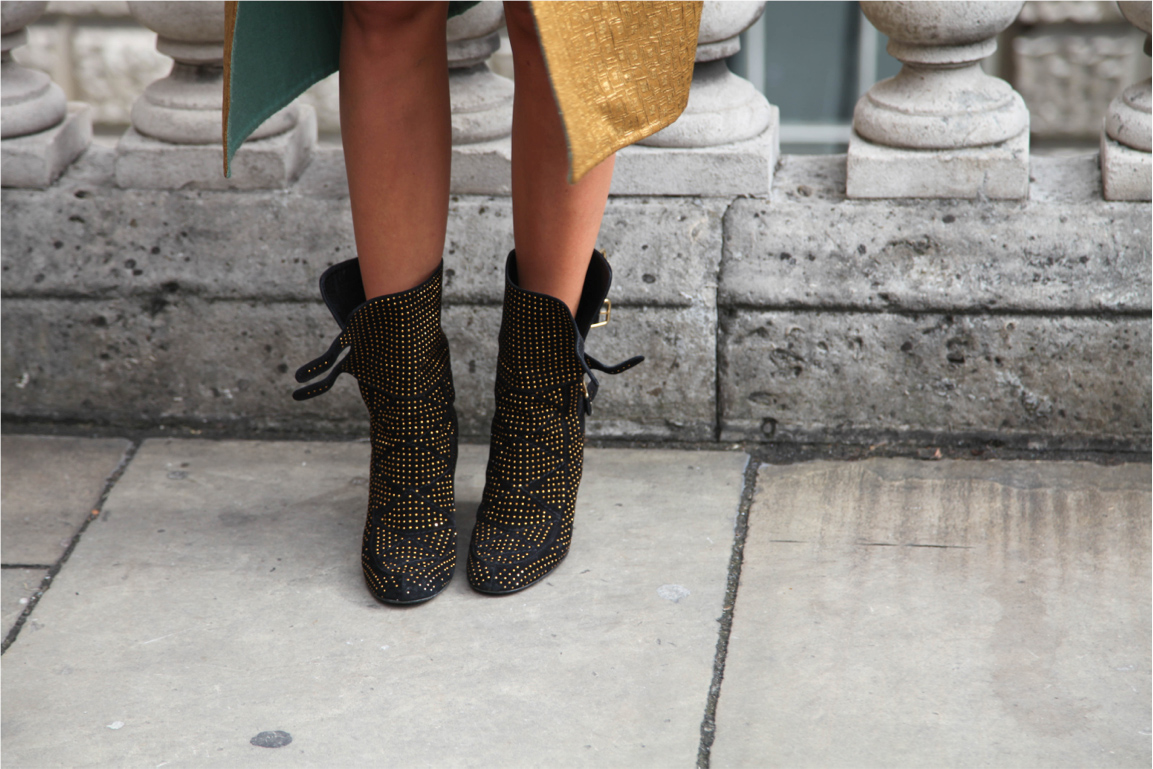 London Fashion Week street style gold studded booties