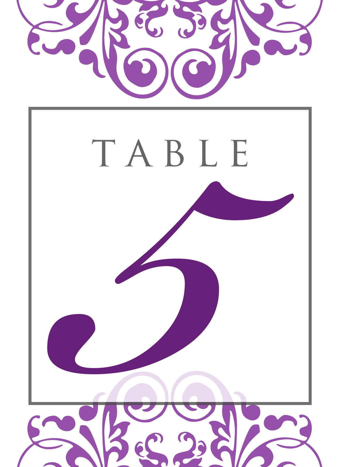 Signatures by sarah all inclusive wedding package for jamie for Table number design template