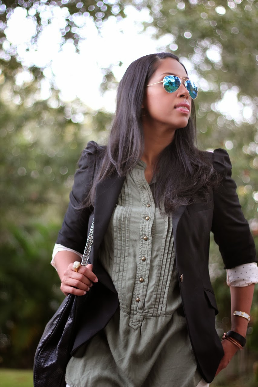Zara black blazer Blank ivory corduroy spray on Ray Ban mirror blue sunglasses chanel bag navy suede ankle boot bootie