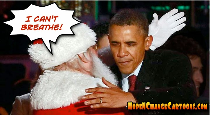 obama, obama jokes, political, humor, cartoon, conservative, hope n' change, hope and change, stilton jarlsberg, christmas, i can't breathe, grand jury, garner, santa