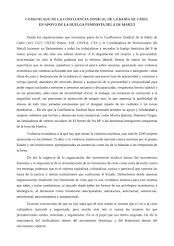 COMUNICADO DE LA CONFLUENCIA SINDICAL DE LA BAHÍA DE CÁDIZ EN APOYO DE LA HUELGA FEMINISTA DEL 8 DE