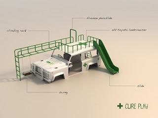 Ambulancia Convertida en Parque de Juegos, Ideas para Reciclar