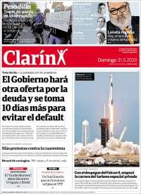 31/05/2020  ARGENTINA  UNA  PRIMERA PÁGINA DE LA PRENSA