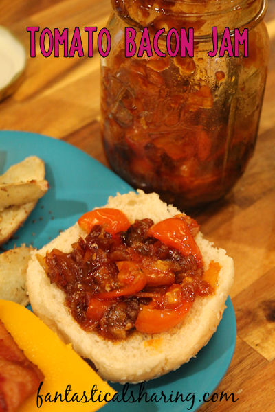 Tomato Bacon Jam   The perfect addition to burgers and grilled cheese sandwiches or topping for crackers for a snack #bacon #HandCraftedEdibles #jam