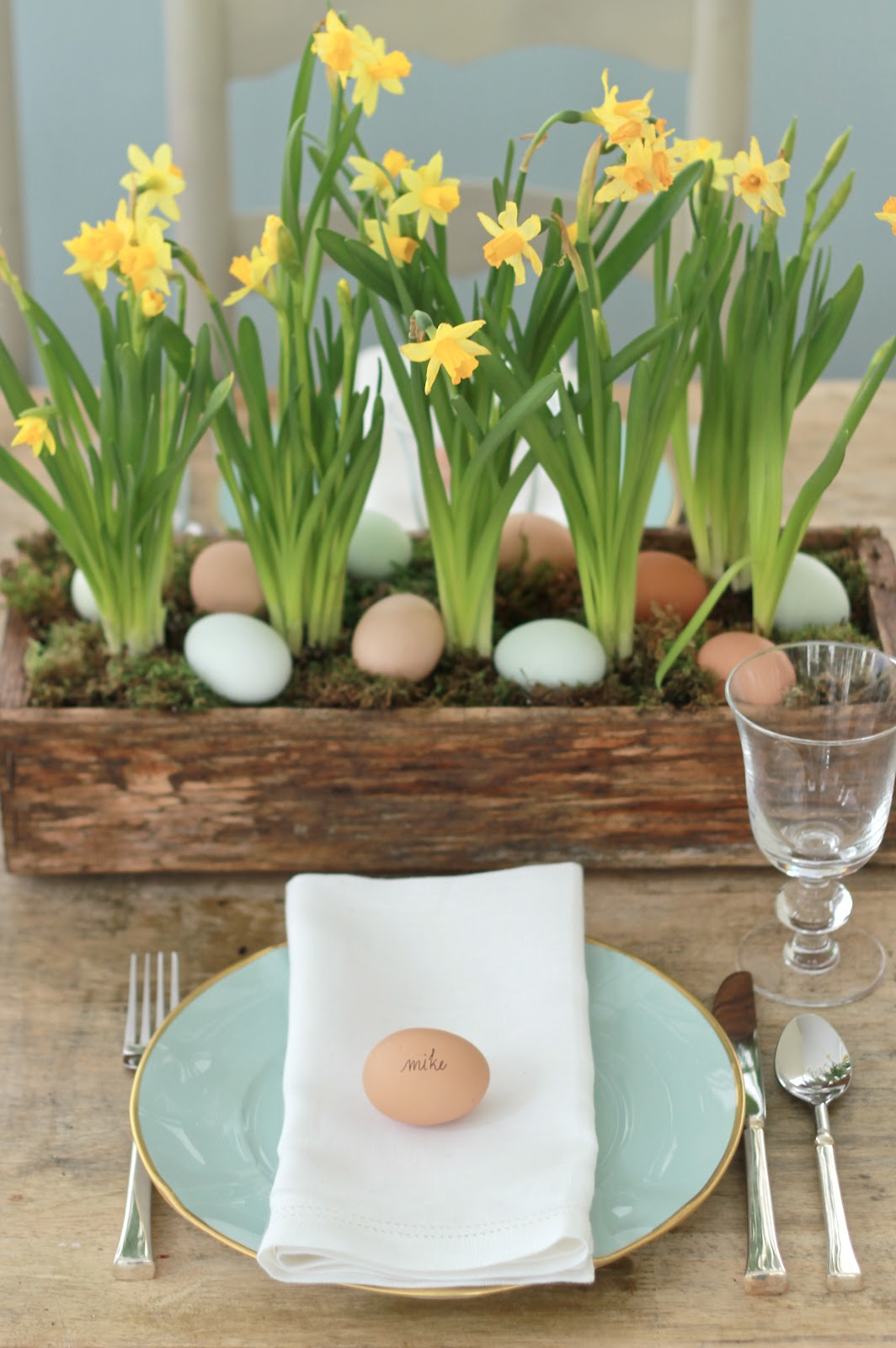 Jenny Steffens Hobick Easter Egg Hunt Centerpiece Blue Eggs Daffodils