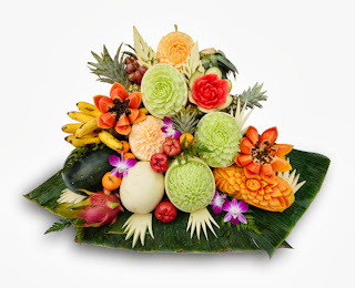 Thai carved food flowers