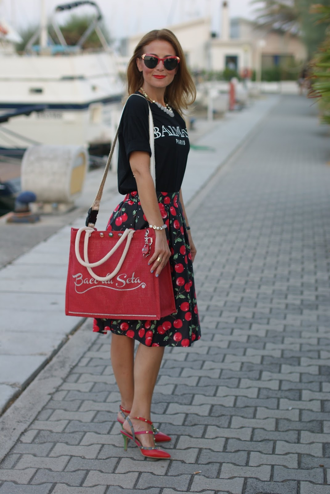 Baco da Seta bag and cherry print on Fashion and Cookies fashion blog, fashion blogger style