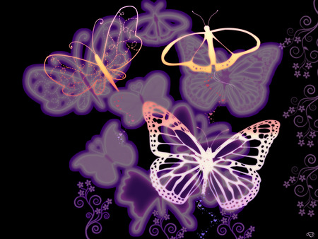 Fantasy butterflies purple - photo#16