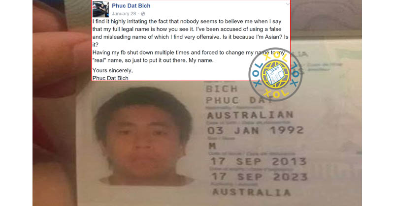 This man's Facebook account was banned 3 times because of his awkward name