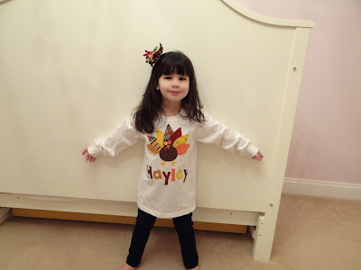 Wordless Wednesday: Hayley all ready for Thanksgiving in her new shirt