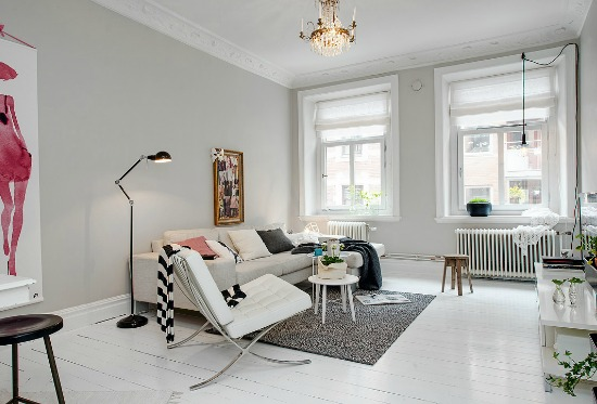 light gray walls white floors