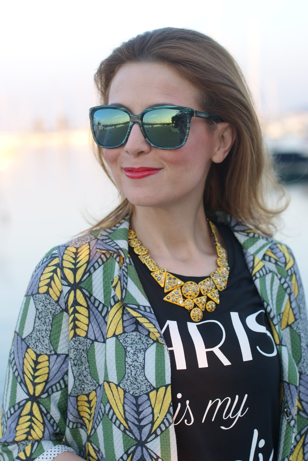 yellow zara necklace, Hype sunglasses, Tezenis t-shirt, Fashion and Cookies fashion blog, fashion blogger style