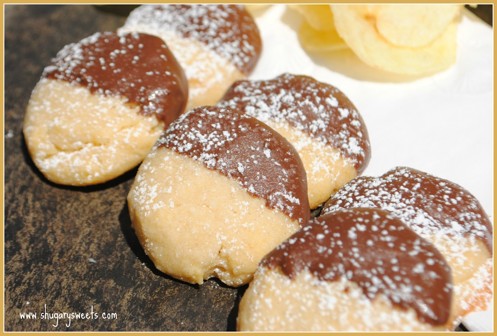 Chocolate Dipped Potato Chip Cookies - Shugary Sweets
