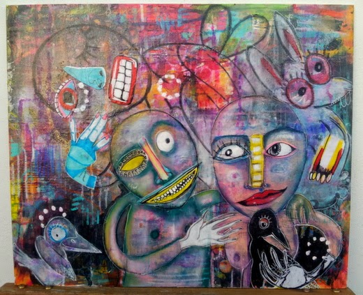 Carmen Wing - The Watcher - Mixed media on canvas board