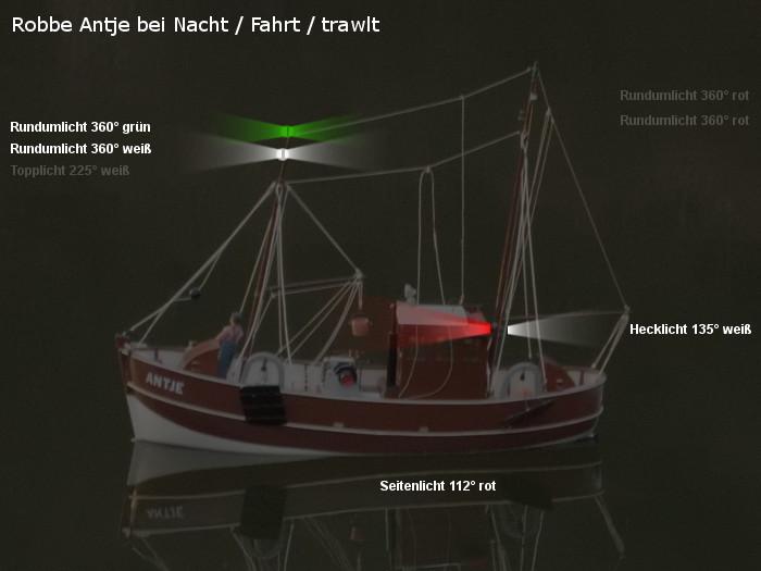 Antje von Robbe - Position der möglichen neuen Beleuchtung - Topplicht und Rundumlichter - Fahrt / trawlt