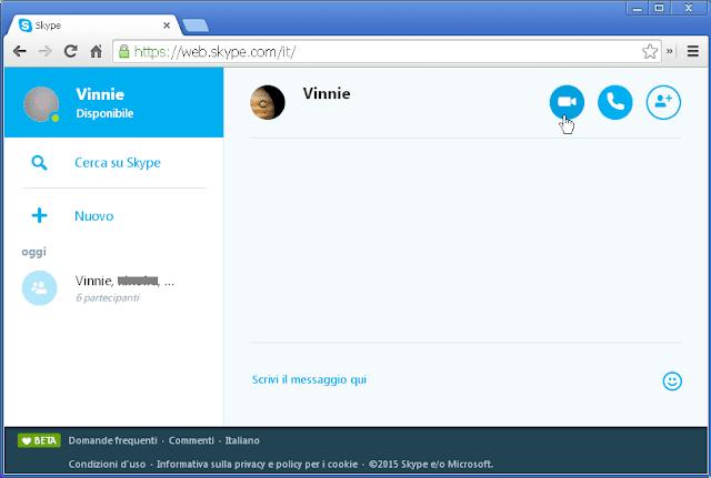 Skype Online sul browser internet