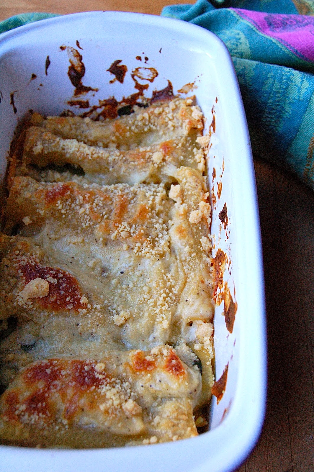 Mushroom and Spinach White Lasagna