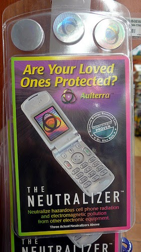 Store Display for 'The Neutralizer' which claims  to reduce exposure to cellphone radiation.