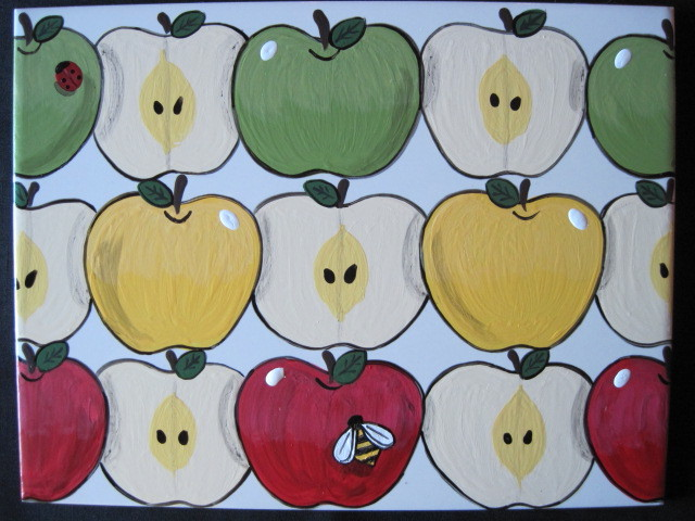 Painted Apple Ceramic Tile