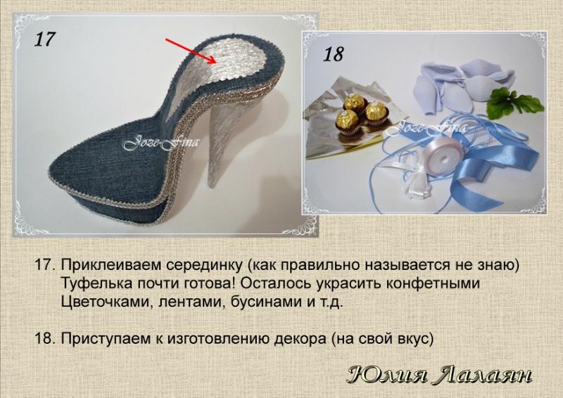 Туфелька из конфет как сделать
