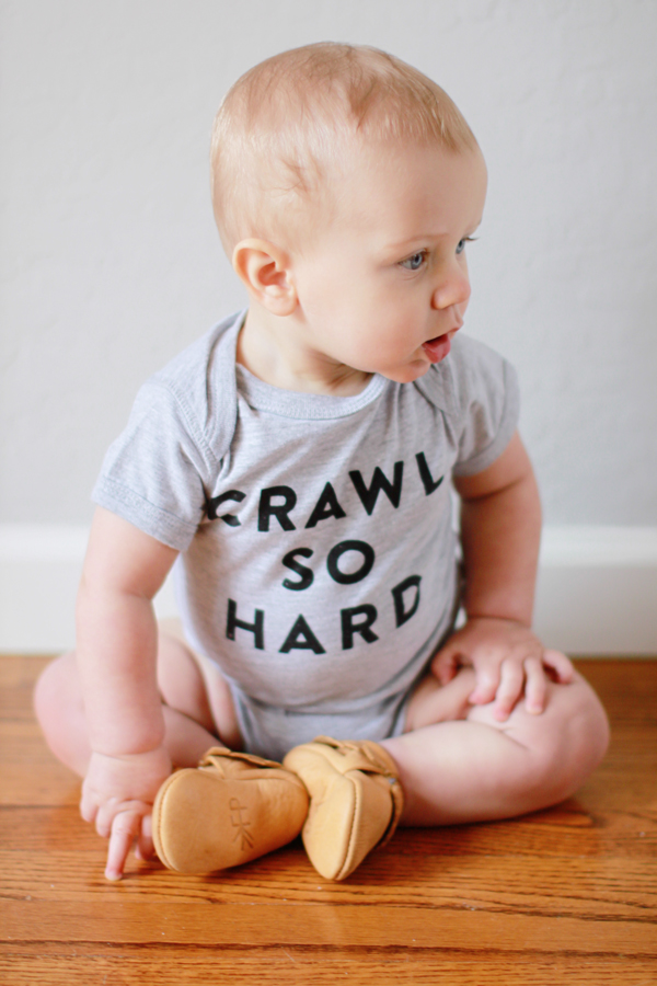Crawl So Hard (grey baby onesie)