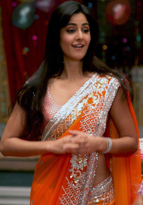 Katrina Kaif in orange saree - Katrina Kaif in Orange Saree, looking Cute