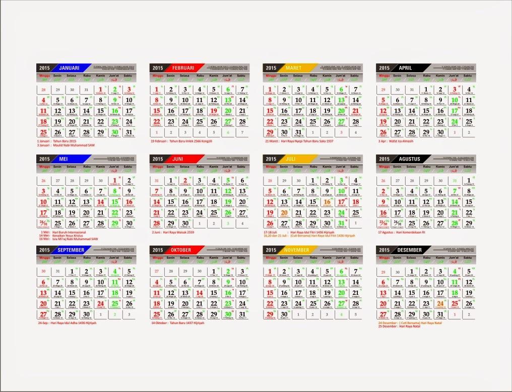 Kalender 2015 lengkap disertai dengan penanggalan Kalender Jawa dan ...