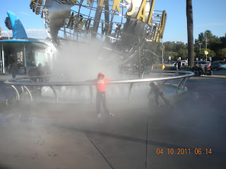 White spray of water in Universal studios