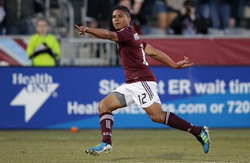 Colorado Rapids player Quincy Amarikwa celebrates after scoring against Columbus Crew