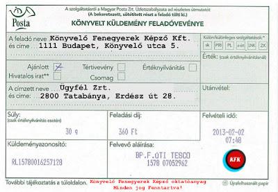 Számviteli bizonylat: postai feladóvevény