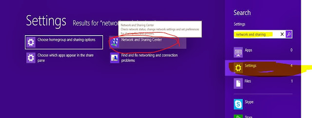 Network and sharing windows 8.1