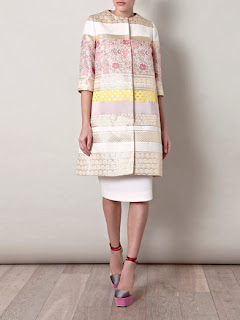 Giambattista Valli Brocade Collarless Coat