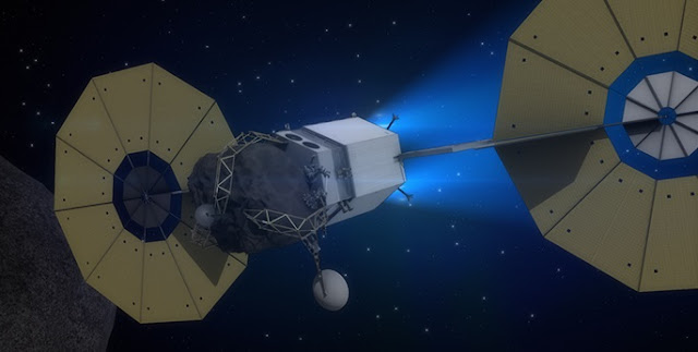 Concept of an asteroid redirect mission. Credit: NASA