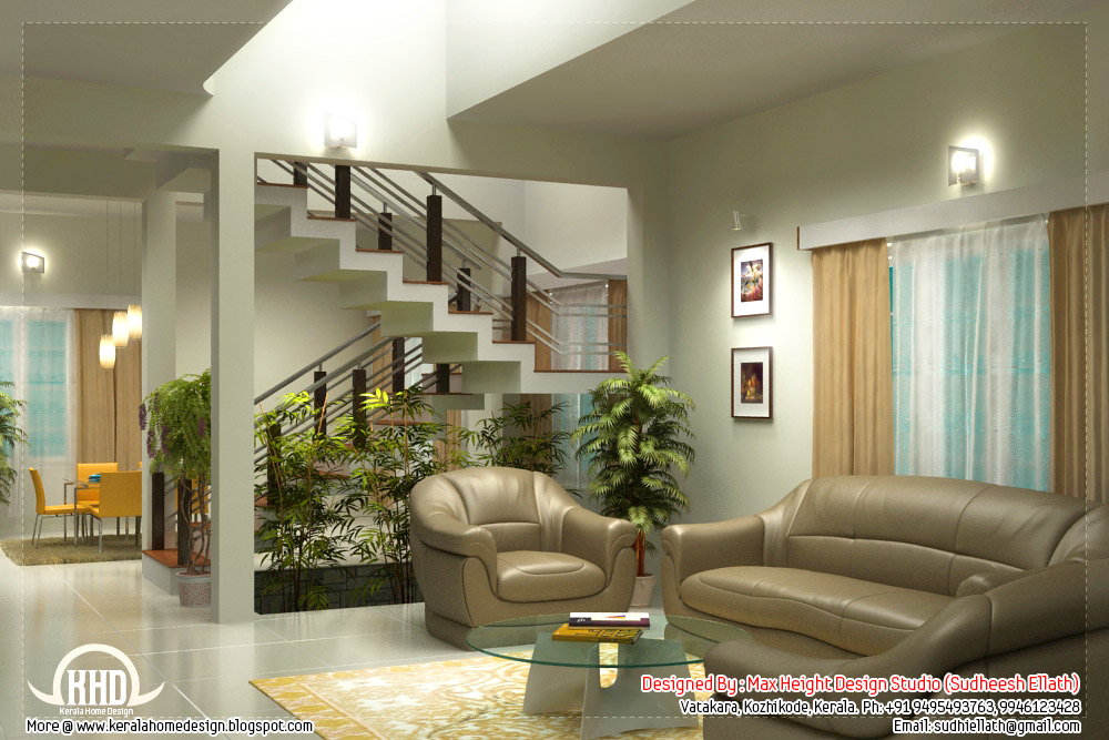 Beautiful living room rendering kerala house design for Kerala homes interior designs