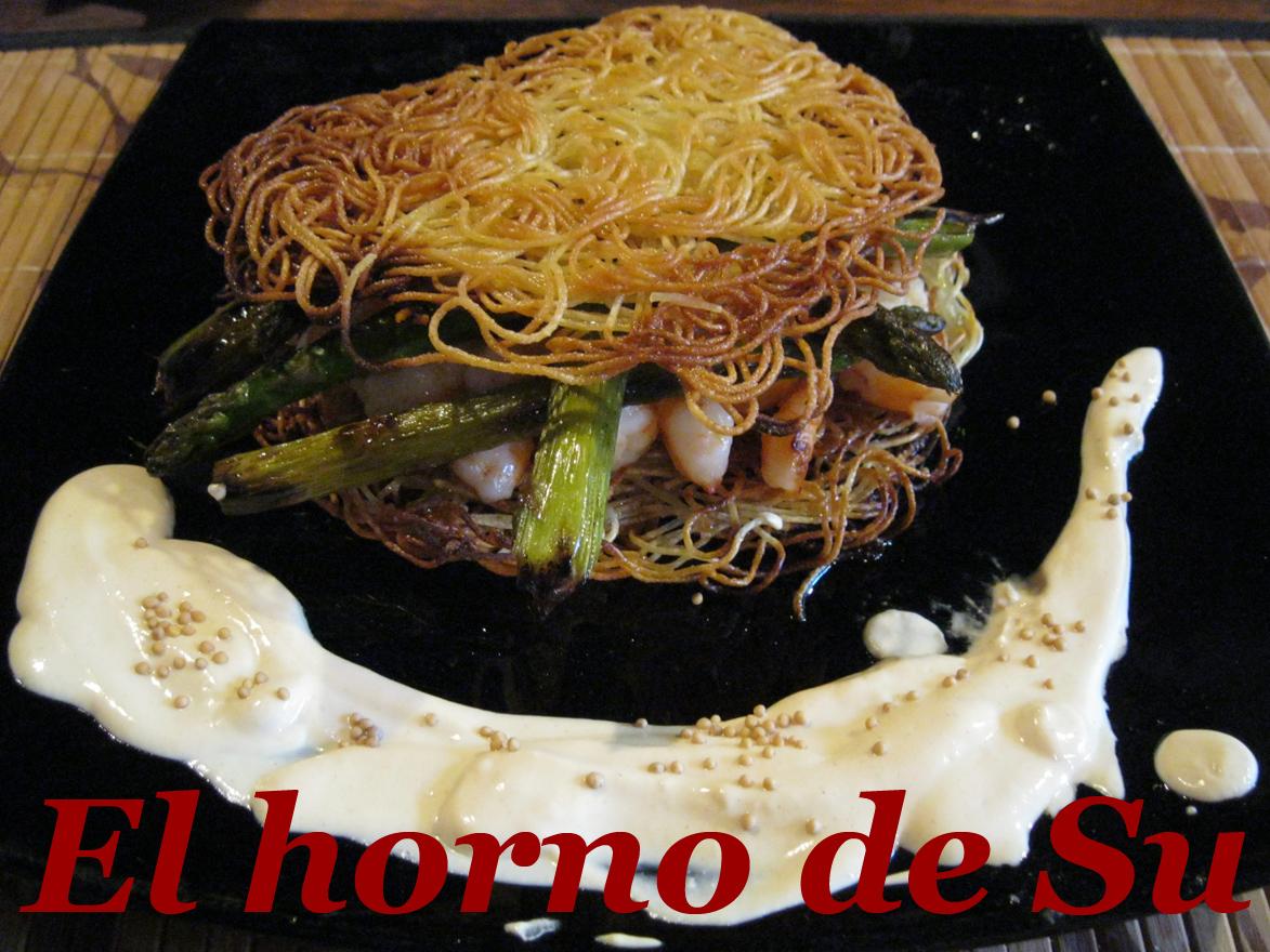 El horno de su r sti de espaguetis con verdura y gambas for Espaguetis para dos