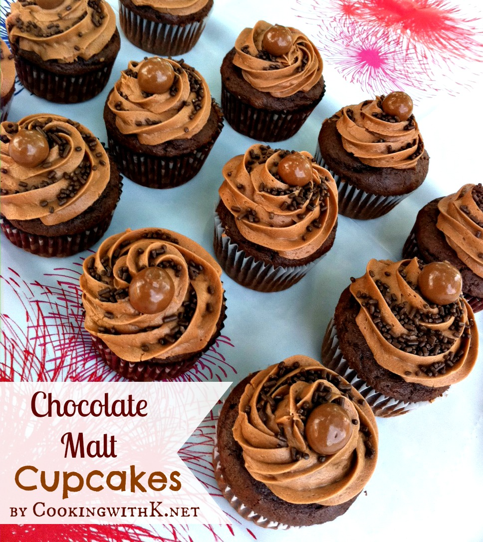 Cooking with K: Chocolate Malt Cupcakes {Birthday Celebration}