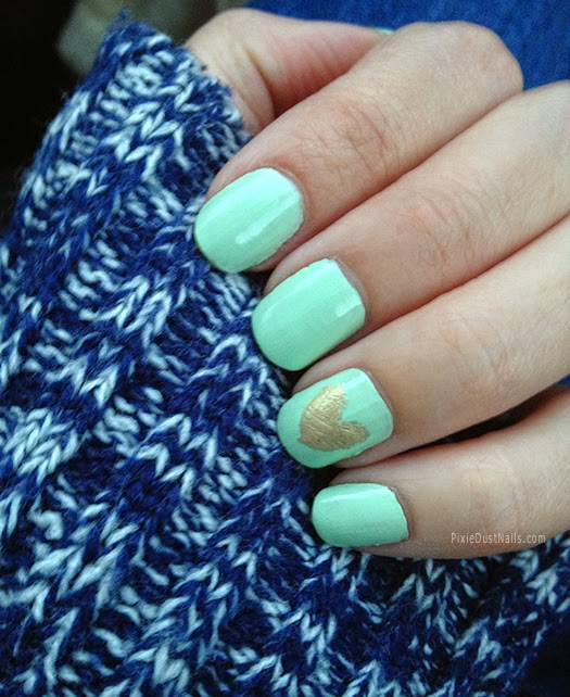 Mint and Gold heart nails