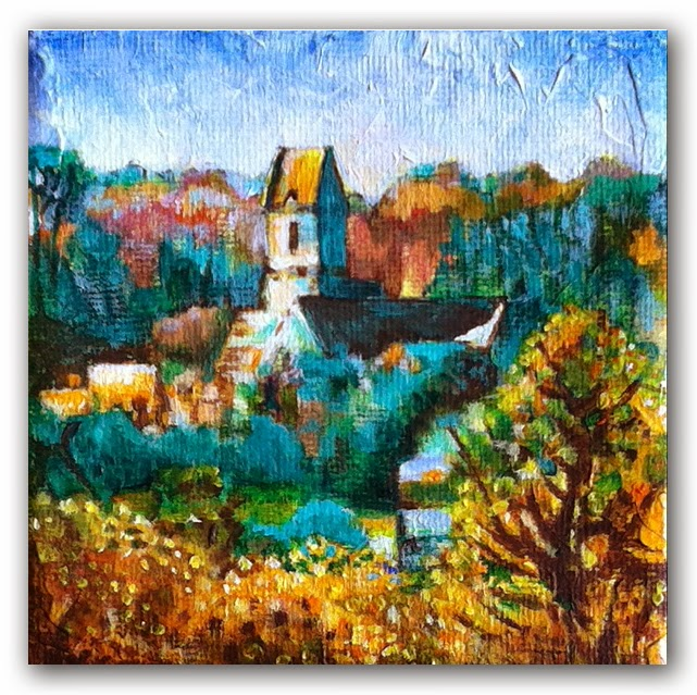 landscape painting of a french church