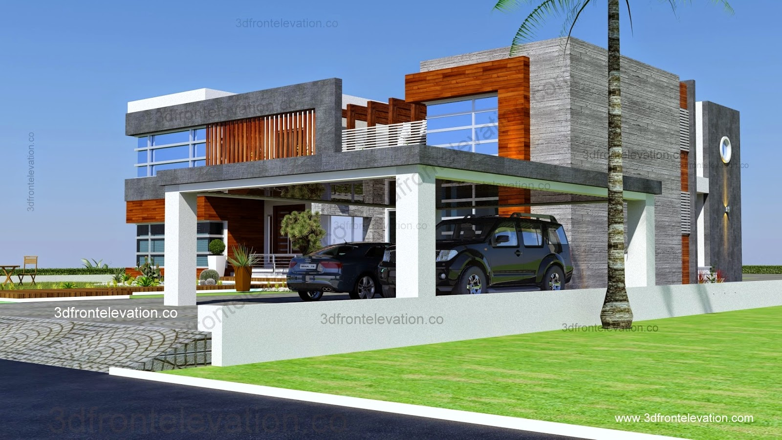 3d front new beautiful 2 kanal house plan for Architect home plans