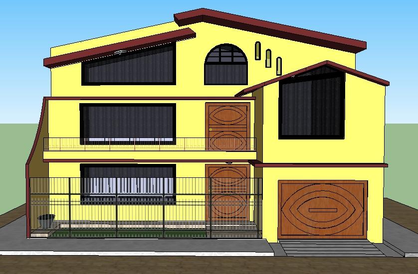Bonita y elegante casa de tres pisos, con amplias ventanas.