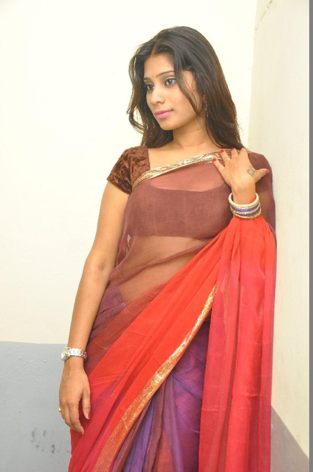 Midhuna Waliya Hot Navel Show Photos in Transparent Saree