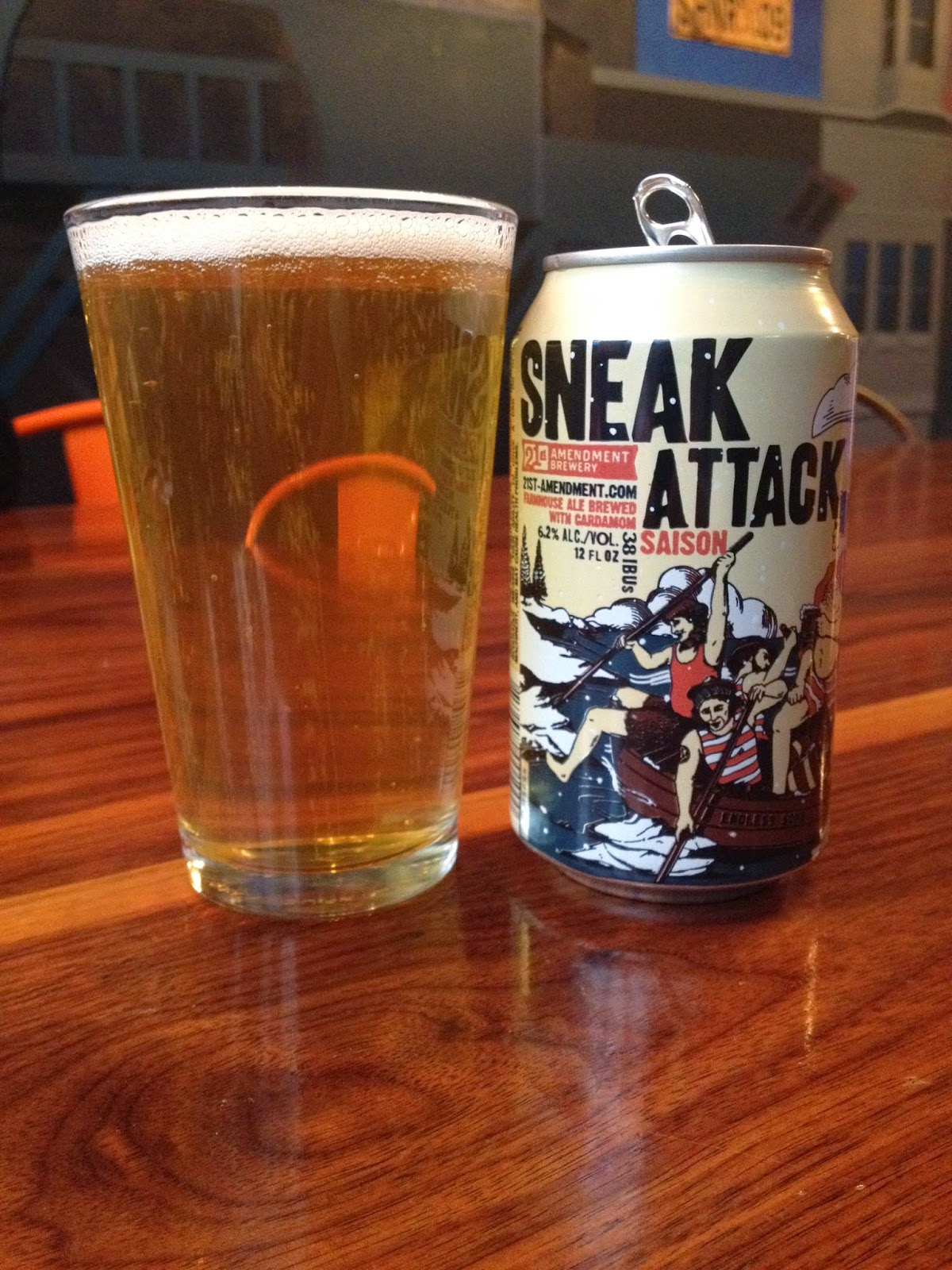 Beer Review (45): 21st Amendment Brewery Sneak Attack Saison--Brewery: 21st Amendment Brewery Beer: Saison | Beer Advocate Score: 81 Abv: 6.2%     It's been a minute since I've had a good farmhouse ale.  In fact, the last one of note was Brooklyn's Sorachi Ale.  So I was on the hunt for something to usher in the Spring-like weather we are finally having.   The Sneak Attack saison was refreshingly sweet and a little spicy.  It pours a light yellow color and has a bubbly yet light mouth feel.  And check out that sweet design!     21st Amendment is one of my personal favorites and continually brings good beer to the masses.  I even made a special visit to their brewery last May!  This is already on the grocery list for Easter.